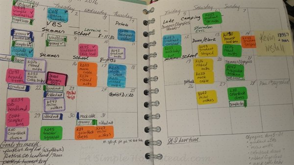my bullet journal schedule for August | ASimpleHomestead.com