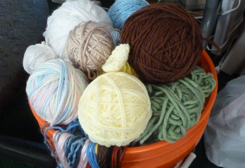 yarn scrap bucket