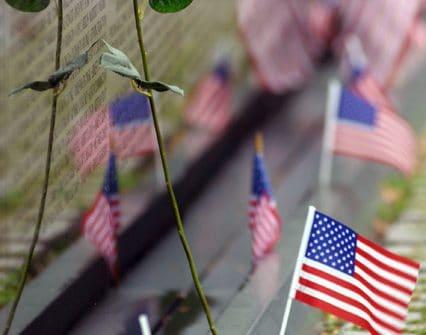 American flags at the Vietnam War Memorial
