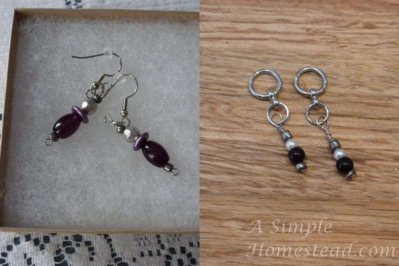 earrings and stitch markers