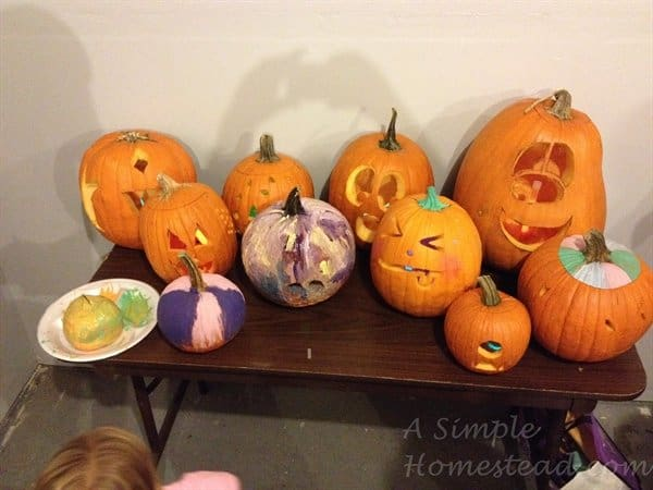 ASimpleHomestead.com - lots of carved pumpkins