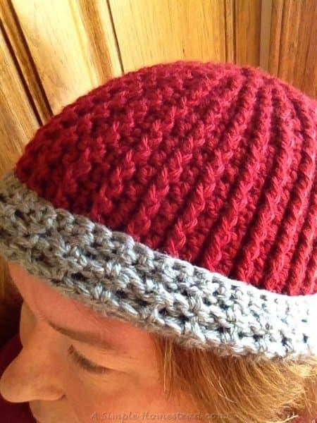 ASimpleHomestead.com - crochet swirl hat adult