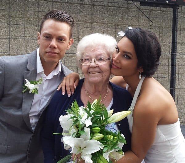 bride and groom with Grandma | ASimpleHomestead.com