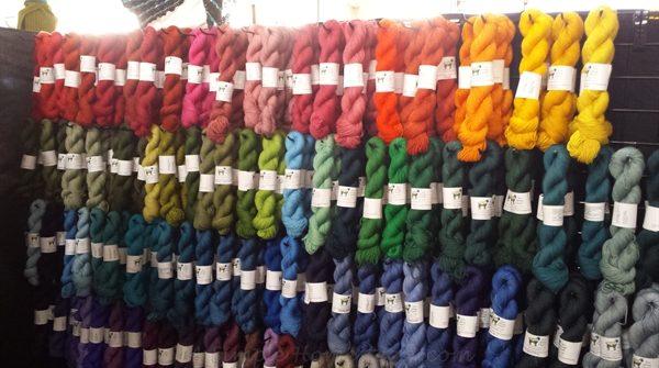 Sun Valley Fibers rainbow yarn wall   ASimpleHomestead.com