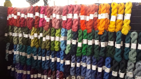 Sun Valley Fibers rainbow yarn wall | ASimpleHomestead.com
