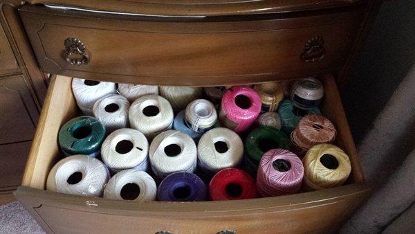 thread stash in drawer