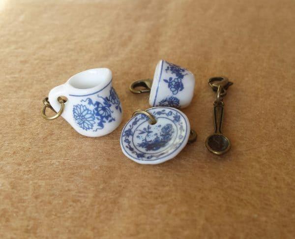 Delft china tea set stitch markers