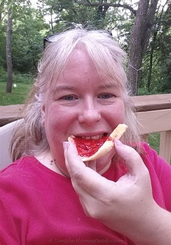 eating fresh strawberry jam