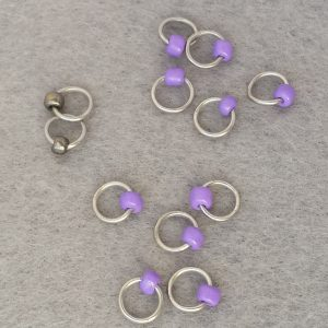 Simple beaded purple gunstock stitch markers