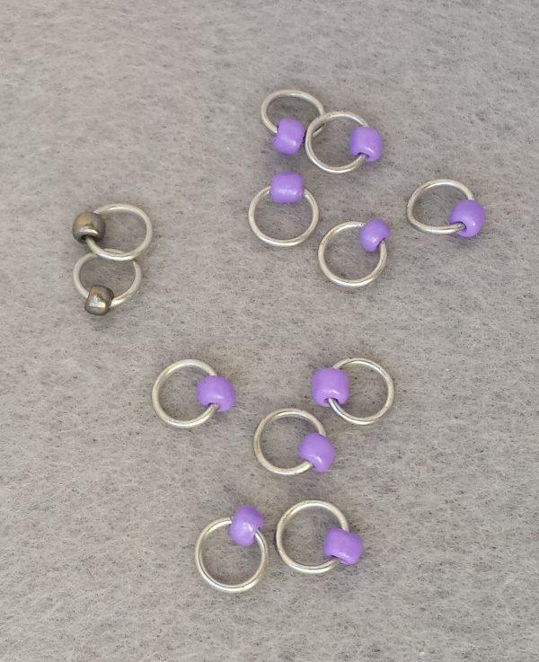 Simple beaded purple gunstock stitch markers