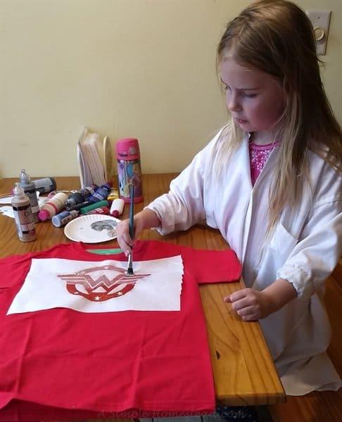 painting freezer paper stencil shirts - ASimpleHomestead.com