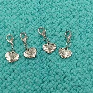 I Love You heart charm stitch markers progress keepers