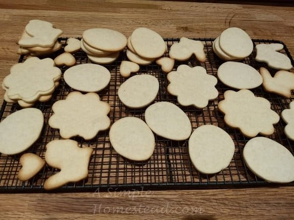 Cream Cheese cutout cookie dough baked - Easter