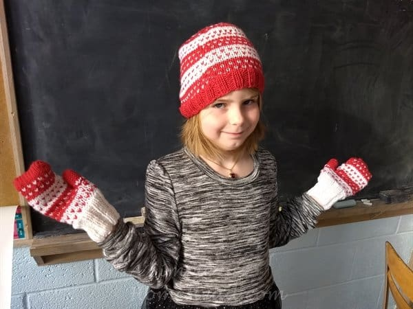 Hearts Aplenty hat and mittens (child size) - ASimpleHomestead Designs