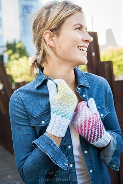 Gradient Striped Mittens by Carmen Nuland