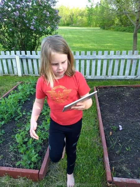 barefoot in the garden - with an iPad