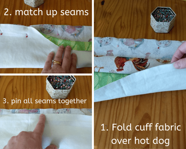 hot dog pillowcase - folding and pinning