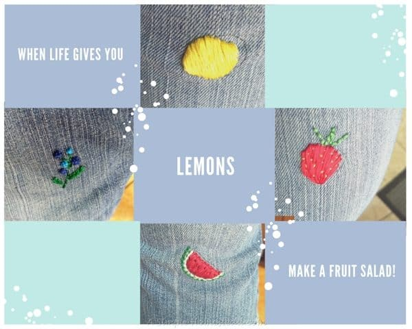 when life gives you lemons - embroidery on jeans